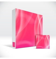 3d identity box with abstract red lines cover vector