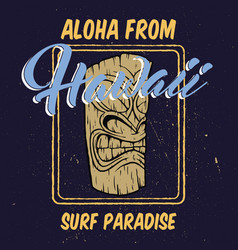 aloha hawaii with tiki head vector image vector image