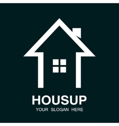 arrow up and house logo vector image