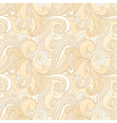 Beige hand-drawn pattern waves background vector image vector image