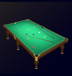 Billiard game balls position on a realistic pool vector