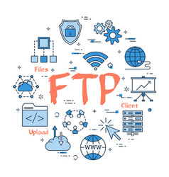 Blue round ftp concept vector