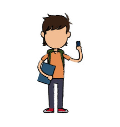 boy cartoon student character holding book and vector image vector image