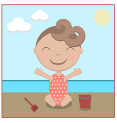 cartoon baby happy on beach vector image vector image