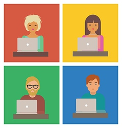 Characters with laptops vector image