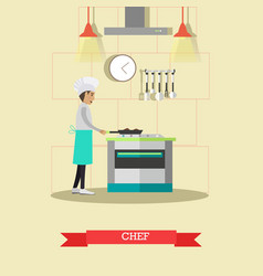 Chef cooking meals in flat vector