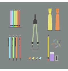 colorful stationery and office stuff set on gray vector image