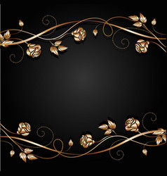 Copper flowers with shadow on dark background vector