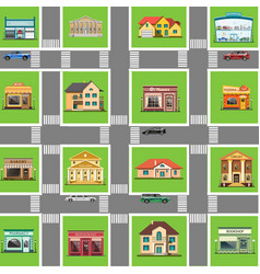 different shops and homes set vector image vector image