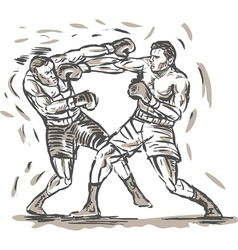 drawing of two boxers punching vector image vector image