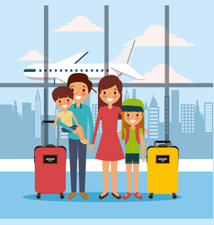Family in airport waiting room travel vacations vector