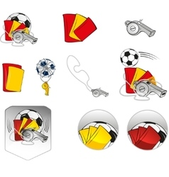 Football Items Symbols Set vector image vector image