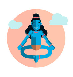 God krishna character sitting in lotus position vector