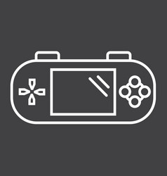Handheld game console line icon controller vector