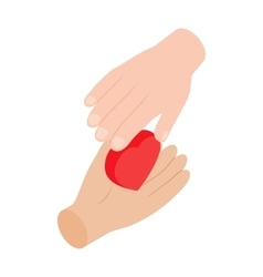 Heart in hands 3d isometric icon vector image vector image