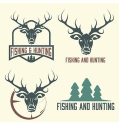 Hunting and fishing vintage set vector