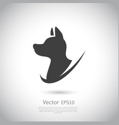 hunting dog head icon on gray background vector image vector image