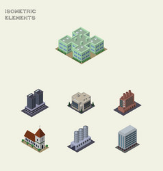 Isometric urban set of office chapel tower and vector