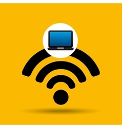 Laptop icon wifi social media vector