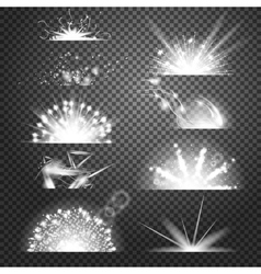 lighting effects Set of glints on vector image vector image