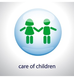 Logo of the care of children - children in a vector