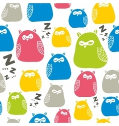 Seamless colorful pattern with cute sleeping owls vector