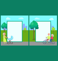 Senior lady with pram and couple on bike vector