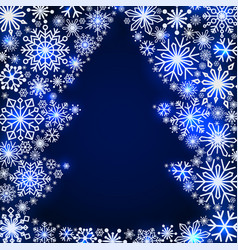 snowflake frame in the shape of a christmas tree vector image vector image