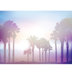 Summer palm tree landscape with retro effect vector image