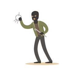 thief in a black mask with master keys colorful vector image