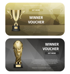 two cards of winner voucher with golden goblets vector image vector image