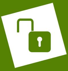 Unlock sign white icon vector
