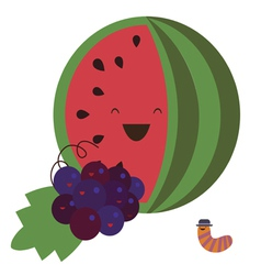 Water melon and grapes vector