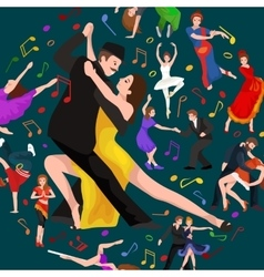 Yong couple man and woman dancing tango with vector