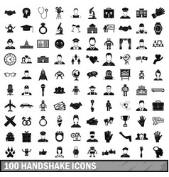 100 handshake icons set simple style vector