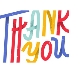 Thank you greeting card colorful custom lettering vector