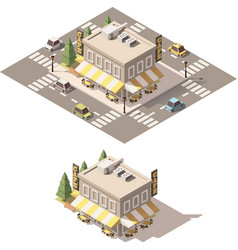 Isometric low poly cafe vector