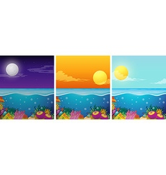 Ocean scenes with different times of the day vector
