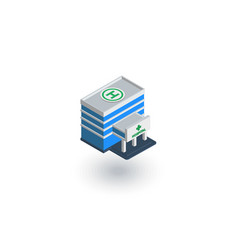 Hospital building isometric flat icon 3d vector