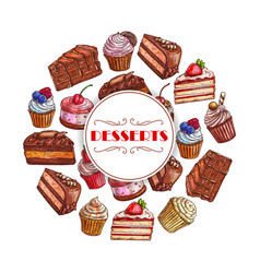 Dessert cakes and cupcakes poster vector