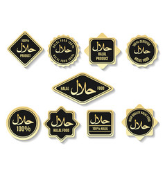 Islamic halal meal gold certified signs vector