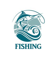 Swordfish fishing emblem vector