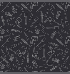 Seamless line pattern with military equipment vector