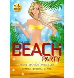 Night club beach party poster vector