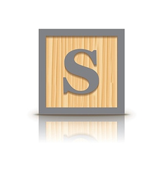Letter s wooden alphabet block vector