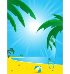 summer beach and surf board vector image