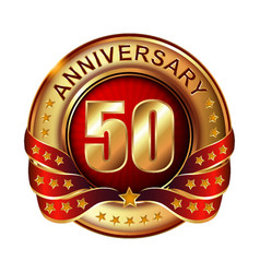 50 anniversary golden label with ribbon vector image vector image
