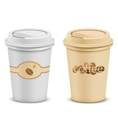 Plastic coffee cups with lid vector