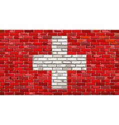 Grunge flag of switzerland on a brick wall vector