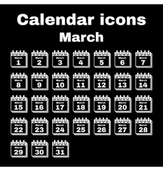 The calendar icon march symbol flat vector